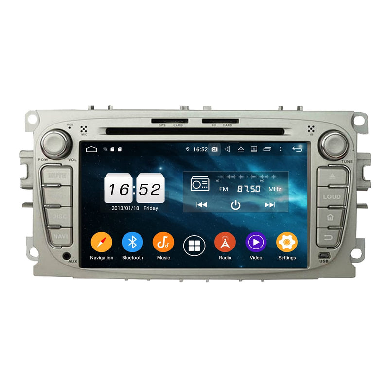 (Silver) 7 inch Car Radio Stereo Android 9.0 OS for Ford Mondeo/Transit Connect/S-Max/Focus, Octa Core 1.5G CPU 4G DDR3 RAM 32G Flash, Auto DVD Player GPS Navigation Bluetooth 4G WIFI OBD2 MirrorLink - foyotech