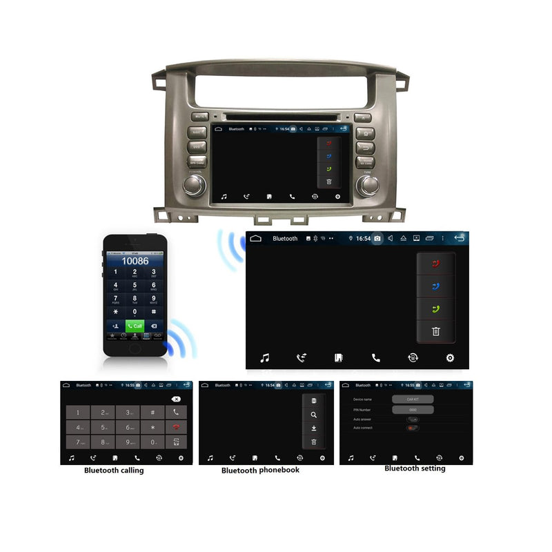 7 inch Android 9.0 OS Car GPS Radio Headunit for Toyota Land Cruiser 100(1998-2007), Octa Core 1.5G CPU 4G DDR3 RAM 32G Flash, Touchscreen Auto DVD Player Bluetooth 4G WIFI OBDII MirrorLink - foyotech