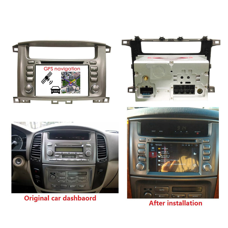 7'' Touchscreen Android 10 Autoradio Stereo for Toyota Land Cruiser 100(1998 1999 2000 2001 2002 2003 2004 2005 2006 2007), Octa Core 1.5G CPU 32G Flash 4G DDR3 RAM. 2 Din Car DVD Player GPS Navigation 3G 4G WIFI Bluetooth USB/SD DSP Carplay Auto Steering Wheel Control OBD2. Double Din Vehicle Multimedia System Head Unit.
