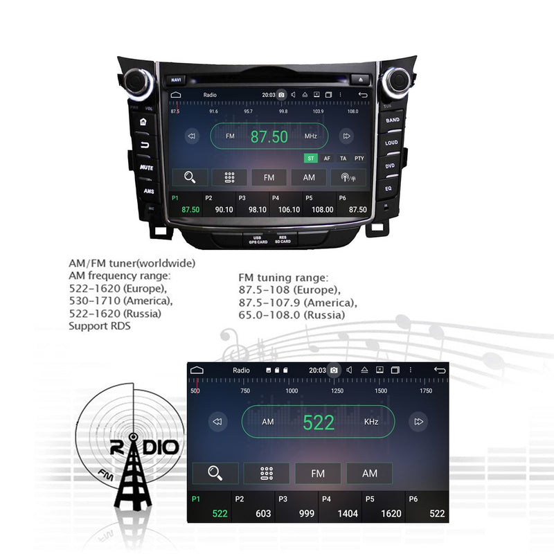 Touchscreen Android 10 Autoradio Stereo for Hyundai Elantra GT I30 2011 2012 2013 2014 2015 2016 2017 2018. Octa Core 1.5G CPU 32G Flash 3G 4G DDR3 RAM. 2 Din Car Radio GPS Navigation 3G 4G WIFI Bluetooth USB/SD DVD DSP Carplay Auto Steering Wheel Control OBDII. Double Din Vehicle Multimedia Player System Head Unit.