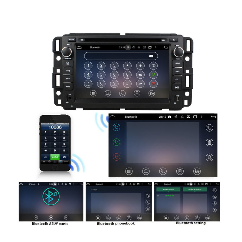 Android 10 2 Din 7 inch 1024x600 Touch Screen Autoradio Headunit for GMC Yukon/Tahoe/Acadia(2007-2012)/Sierra(2007-2011)/Savana(2008-2009), 8 Core 1.5G CPU 32G Flash 4G DDR3 RAM, Car Radio GPS Navi 3G 4G WIFI Bluetooth USB/SD DSP Carplay Auto Steering Wheel Control. Double Din Vehicle Multimedia Player System Head Unit.