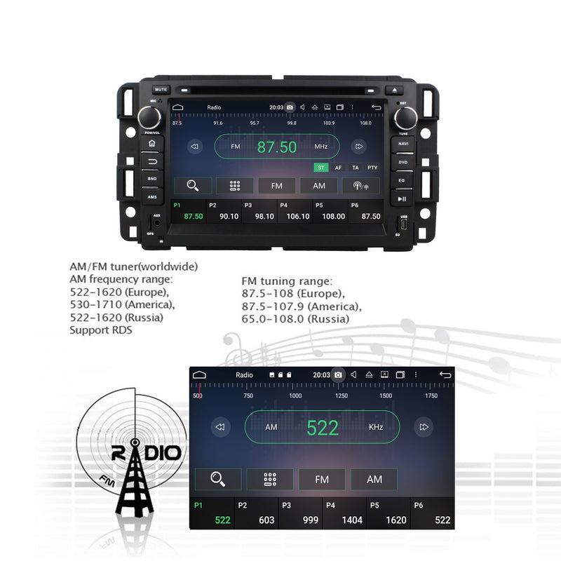 Android 10 2 Din 7 inch Autoradio Headunit for Chevrolet Silverado(2008-2013)/Impala(2006-2013)/Avalanche(2007-2012)/Avalanche(2007-2011), 8 Core 1.5G CPU 32G Flash 4G DDR3 RAM, Car Radio GPS Navi 3G 4G WIFI Bluetooth USB/SD DSP Carplay Steering Wheel Control. Double Din Vehicle Multimedia Player System Head Unit.