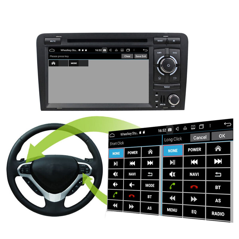 Android 10 OS Autoradio Stereo Headunit for Audi A3/S3 2003 2004 2005 2006 2007 2008 2009 2010 2011 2012 2013. 8 Core 1.5G CPU 32G Flash 4G DDR3 RAM. Auto Radio DVD Navigation 3G 4G WIFI Bluetooth USB/SD DSP Carplay Auto Steering Wheel Control. Double Din Vehicle Multimedia Player System Head Unit. Plug and Play cable!