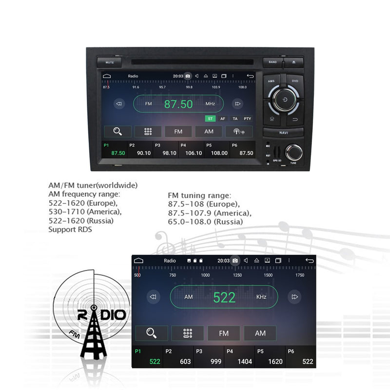 Android 10.0 Autoradio Stereo Headunit for Audi A4 2000 2001 2002 2003 2004 2005 2006&S4 B7/B6(8E 8H)&RS4 B7(8E/8H). Octa Core 1.5G CPU 32G Flash 4G DDR3 RAM. Auto Radio DVD Navi 3G 4G WIFI Bluetooth USB/SD DSP Carplay Auto Steering Wheel Control. Double Din Vehicle Multimedia Player System Head Unit.