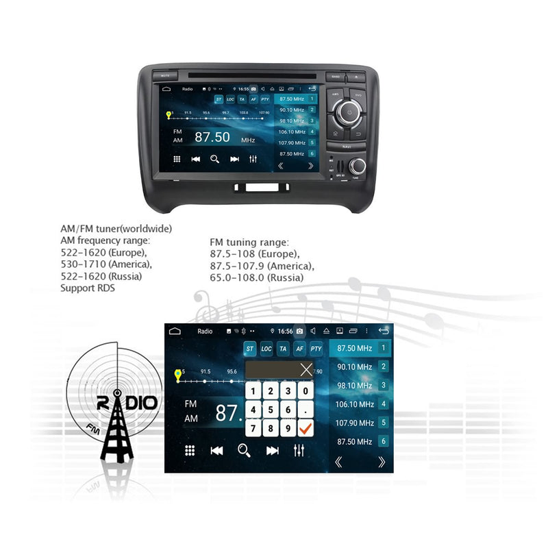 Android 9.0 OS 7 inch Touchscreen 2 Din Car Radio Head Unit for Audi TT(2006-2013), Octa Core 1.5G CPU 4G DDR3 RAM 32G Flash, Auto GPS Navigation DVD Player Bluetooth 4G WIFI - foyotech