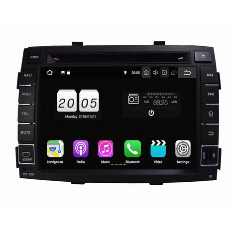 Android 8.1 OS 2 Din Autoradio Stereo Navigation Headunit for Kia Sorento 2010 2011 2012. Quad Core 1.5G CPU 16G Flash 2G DDR3 RAM. Auto Radio GPS 3G WIFI Bluetooth USB/SD DVD Player MirrorLink Steering Wheel Control OBDII. Plug and Play Single Din Vehicle Multimedia Player System Head Unit.