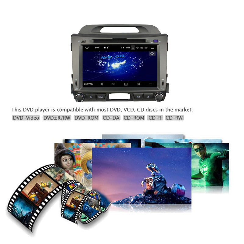 8'' Touchscreen Android 10 Autoradio Stereo for Kia Sportage 2010 2011 2012 2013 2014 2015. Octa Core 1.5G CPU 32G Flash 3G 4G DDR3 RAM. 2 Din Car Radio GPS Navigation 4G WIFI Bluetooth USB/SD DVD Player DSP Carplay Auto Steering Wheel Control OBDII. Plug and Play Double Din Vehicle Multimedia Player System Head Unit.