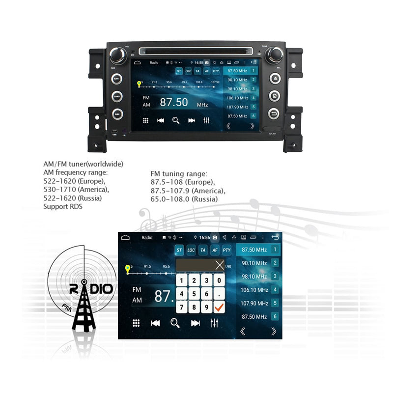 Android 9.0 OS 7 inch Car Radio Stereo for Suzuki Vitara(2005-2011), Octa Core 1.5G CPU 4G DDR3 RAM 32G Flash, Touchscreen Auto DVD Player GPS Navigation Bluetooth 4G WIFI OBDII MirrorLink Headunit - foyotech