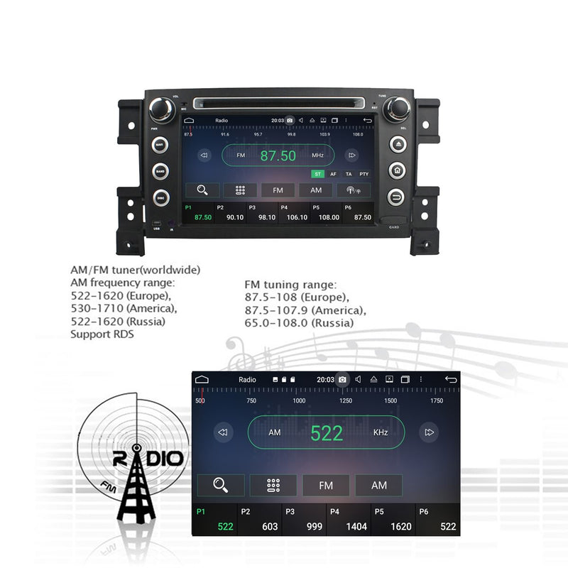 7'' Touchscreen Android 10 OS Autoradio Stereo for Suzuki Vitara 2006 2007 2008 2009 2010 2011. Octa Core 1.5G CPU 32G Flash 4G DDR3 RAM. 2 Din Radio DVD Player GPS Navigation 3G 4G WIFI Bluetooth USB DVD Player DSP Carplay Auto Steering Wheel Control OBDII. Plug and Play Double Din Vehicle Multimedia System Head Unit.