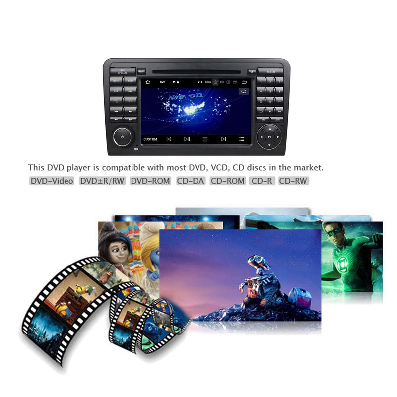 Android 10 2 Din Autoradio Headunit for Benz ML Class W164 2005 2006 2007 2008 2009 2010 2011 2012 (ML300,ML350,ML450,ML500), Octa Core 1.5G CPU 32G Flash 4G DDR3 RAM, Car Radio GPS Navigation 3G 4G WIFI Bluetooth USB/SD DSP Carplay Auto Steering Wheel Control. Double Din Vehicle Multimedia Player System Head Unit.