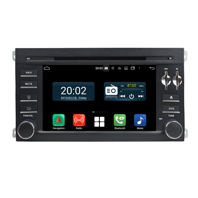 Android 10 OS 2 Din 1024x600 Capacitive Touch Screen Autoradio Headunit for Porsche Cayenne 2006 2007 2008 2009 2010, Octa Core CPU 32G flash 4G DDR3 RAM, Radio GPS Navigation 3G 4G WIFI Bluetooth USB/SD DSP Carplay Auto Steering Wheel Control. Double Din vehicle Multimedia Player System Head Unit. Plug and Play cables!