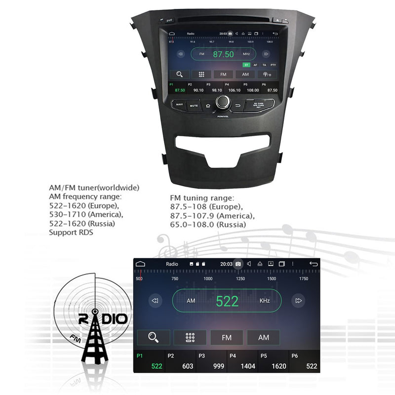 1024x600 Touchscreen Android 10 Autoradio Stereo for SsangYong Korando 2014 2015 2016 2017 2018. Octa Core 1.5G CPU 32G Flash 3G 4G DDR3 RAM. 2 Din Car DVD Radio GPS Navigation 4G WIFI Bluetooth USB/SD DSP Carplay Auto Steering Wheel Control OBDII. Plug and Play cable Double Din Vehicle Multimedia Player System Head Unit.