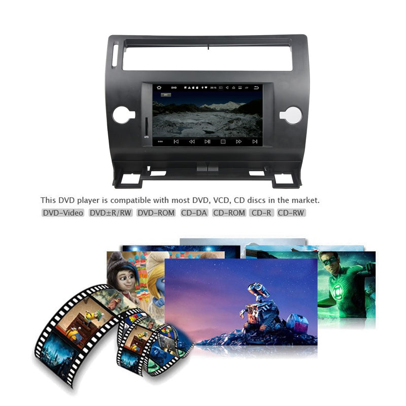 7 inch Android 9.0 OS Car GPS Navigation for Citroen C4(2005-2011), Octa Core 1.5G CPU 4G DDR3 RAM 32G Flash, Auto DVD Player Radio Stereo Bluetooth 4G WIFI OBD2 MirrorLink - foyotech