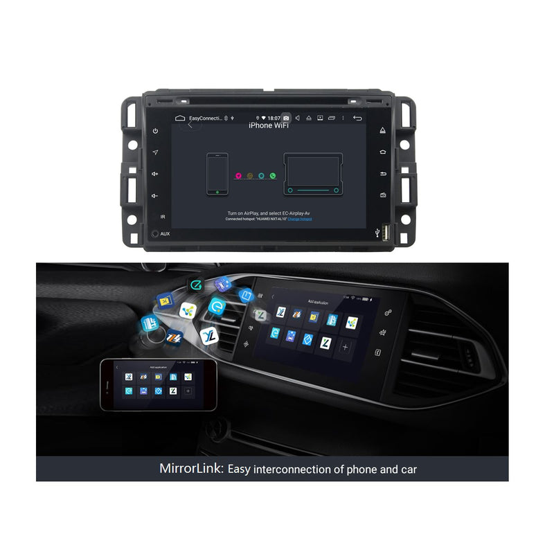 Android 9.0 OS 7 inch 2 Din Car DVD Player for Chevrolet Silverado(2008-2013)/Impala(2006-2013)/Avalanche(2007-2012), Octa Core 1.5G CPU 4G DDR3 RAM 32G Flash, Auto GPS Bluetooth 4G WIFI MirrorLink - foyotech