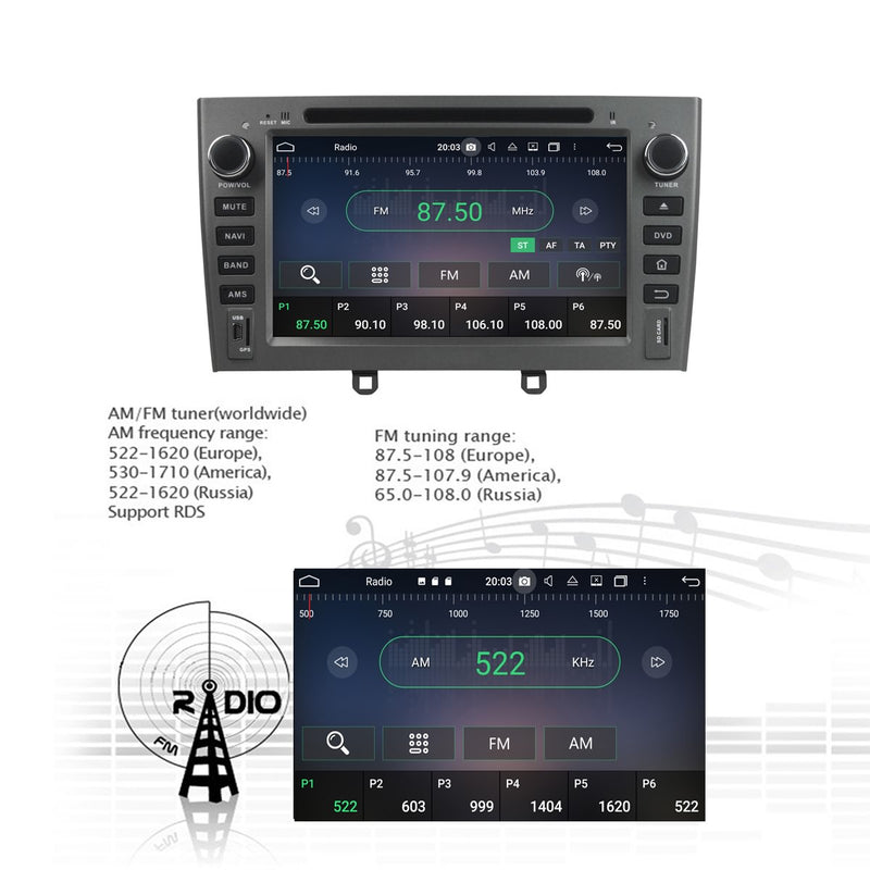 7 inch Touch Screen Android 10 OS Autoradio Stereo Navigation Headunit for Peugeot 408(2007 2008 2009 2010). Octa Core 1.5G CPU 32G Flash 4G DDR3 RAM. 2 Din Auto Radio DVD Player GPS 4G WIFI Bluetooth USB/SD DVD Player DSP Carplay Steering Wheel Control OBDII. Double Din Vehicle Multimedia Player System Head Unit.