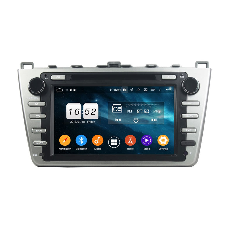 (Silver) 8 inch Touchscreen Android 9.0 OS Car Radio GPS Headunit for Mazda 6 Ultra(2008-2012), Octa Core 1.5G CPU 4G DDR3 RAM 32G Flash, Auto DVD Player Stereo Bluetooth 4G WIFI OBD2 MirrorLink - foyotech