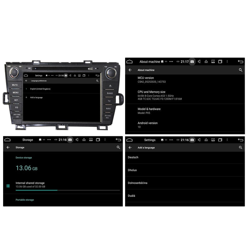 8'' 1024x600 Touchscreen Android 10 OS Autoradio Stereo for Toyota Prius 2009 2010 2011 2012 2013 2014 Right Hand Driving, Octa Core 1.5G CPU 32G Flash 4G DDR3 RAM. 2 Din Car DVD Player GPS Navigation 3G 4G WIFI Bluetooth USB/SD DSP Carplay Auto Steering Wheel Control OBD2. Double Din Vehicle Multimedia System Head Unit.