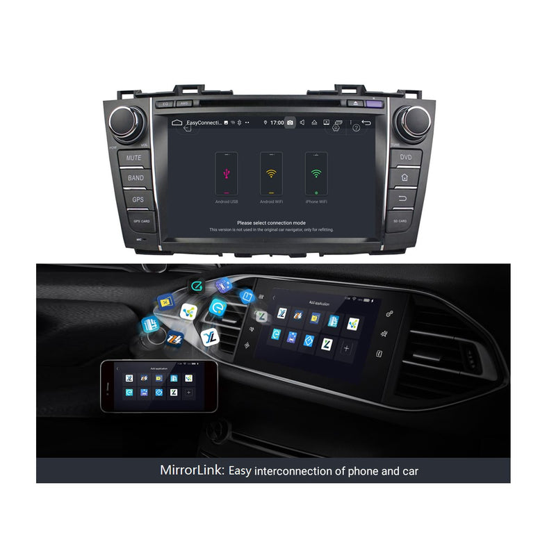 Android 9.0 OS Car Radio GPS Headunit for Mazda 5/Premacy(2010-2018), Octa Core 1.5G CPU 4G DDR3 RAM 32G Flash, 8 inch Touchscreen Auto DVD Player Stereo Bluetooth 4G WIFI OBD2 MirrorLink - foyotech