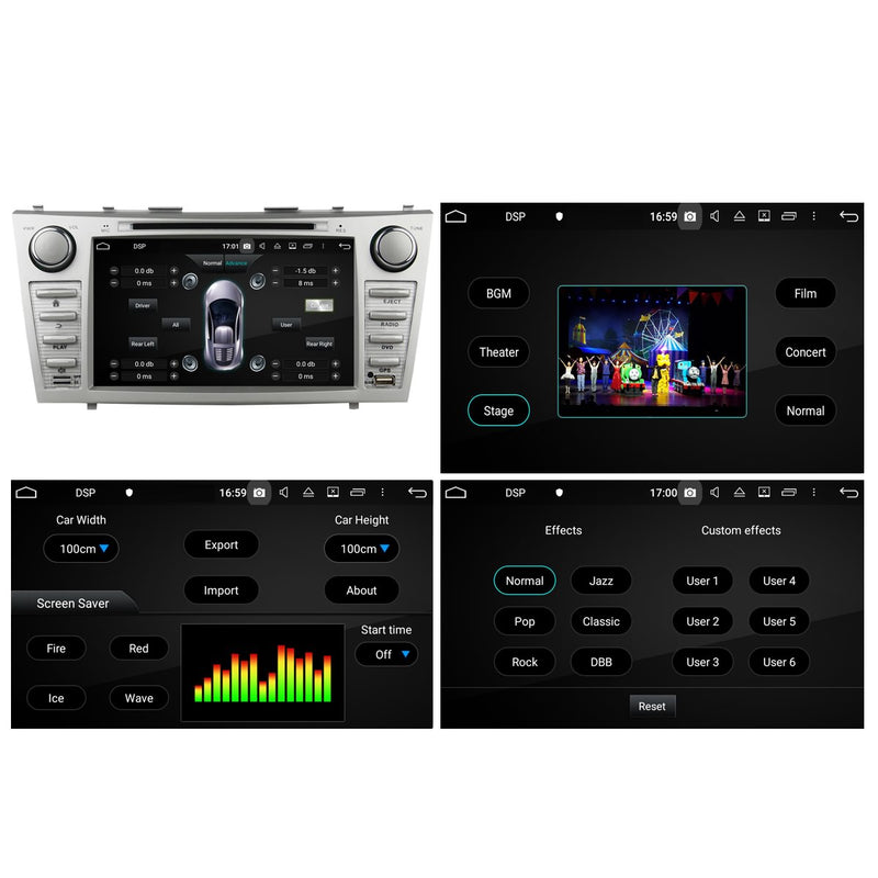 8 inch Touchscreen Android 10 Autoradio Stereo for Toyota Camry 2007 2008 2009 2010 2011, Octa Core 1.5G CPU 32G Flash 4G DDR3 RAM. 2 Din Car DVD Player GPS Navigation 3G 4G WIFI Bluetooth USB/SD DSP Carplay Auto Steering Wheel Control OBD2. Plug and Play cable Double Din Vehicle Multimedia System Head Unit.
