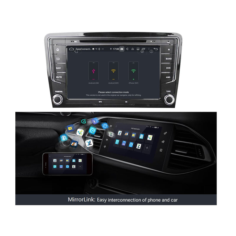 8 inch Touchscreen Android 9.0 OS Car Stereo for Volkswagen Santana(2013-2017), Octa Core 1.5G CPU 4G DDR3 RAM 32G Flash, Auto DVD GPS Navigation Radio Bluetooth 4G WIFI OBD2 - foyotech