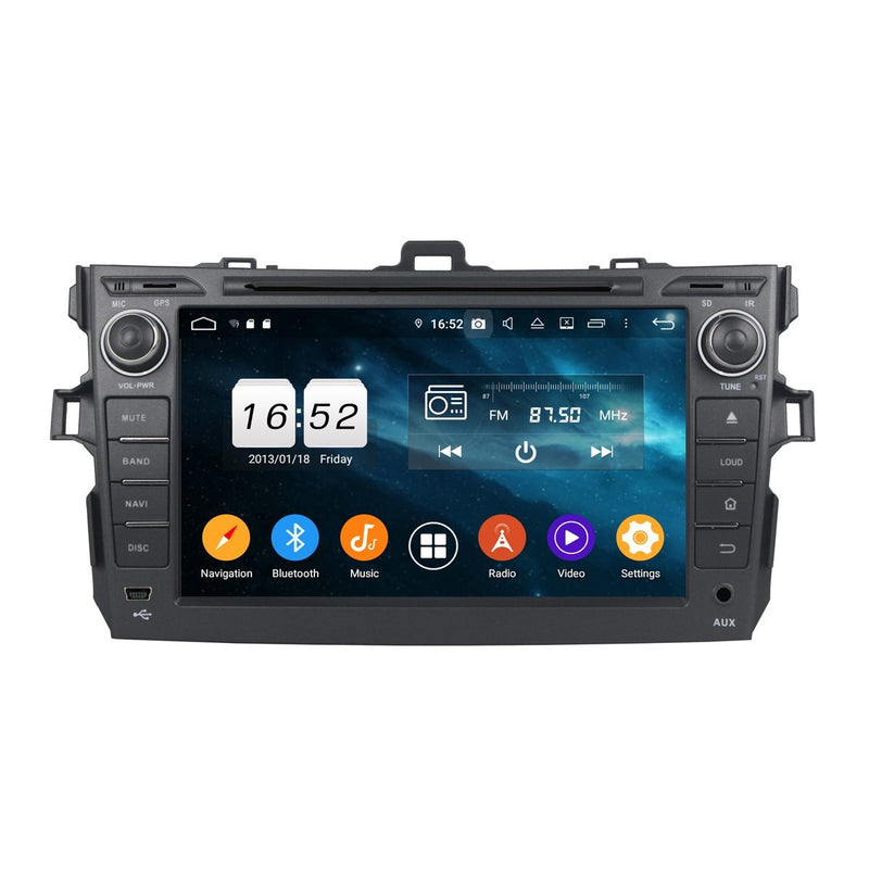 Android 9.0 OS 8 inch Touchscreen Car Stereo GPS Navigation for Toyota Corolla/Auris(2006-2013), Octa Core 1.5G CPU 4G DDR3 RAM 32G Flash, Autoradio DVD Bluetooth 4G WIFI OBDII MirrorLink Headunit - foyotech