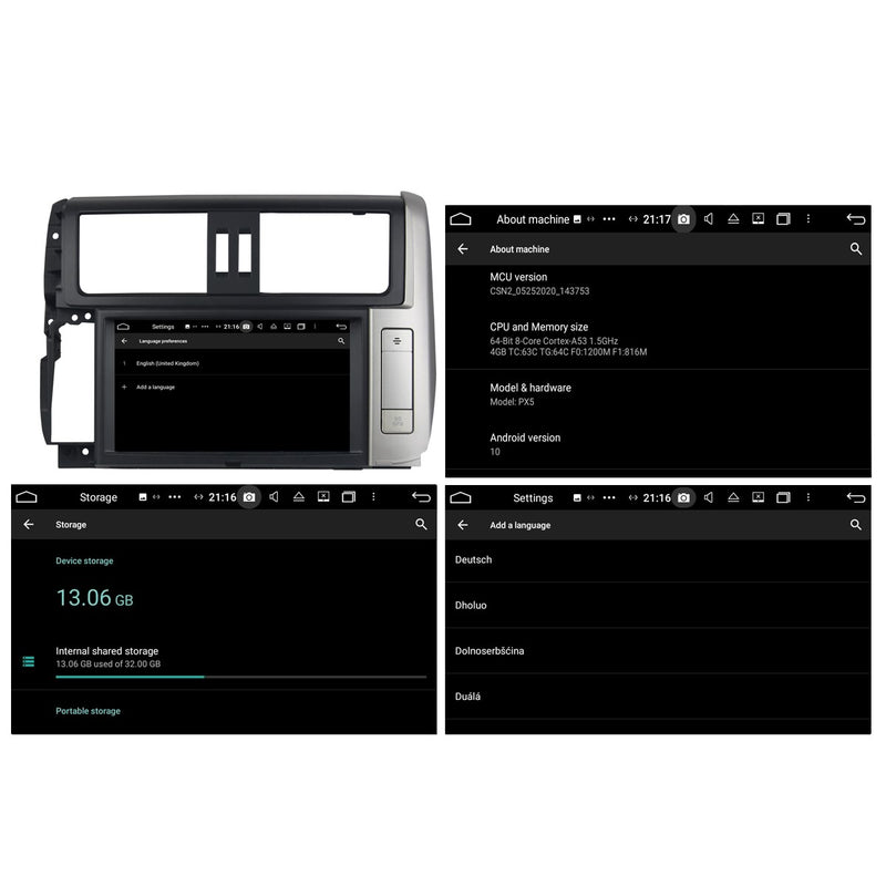 8 inch 1024x600 Touchscreen Android 10 Autoradio Stereo for Toyota Toyota Land Cruiser Prado 150 2010 2011 2012 2013, Octa Core 1.5G CPU 32G Flash 4G DDR3 RAM. 2 Din Car DVD Player GPS Navigation 3G 4G WIFI Bluetooth USB/SD DSP Carplay Auto Steering Wheel Control OBD2. Plug and Play cable Double Din Vehicle Multimedia System Head Unit