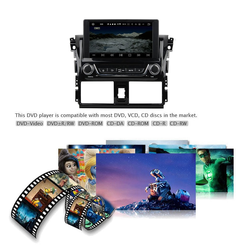 8 inch Touchscreen Android 10 OS Autoradio Stereo for Toyota Yaris Vios 2014 2015 2016 2017 2018, Octa Core 1.5G CPU 32G Flash 4G DDR3 RAM. 2 Din Car DVD Player GPS Navigation 3G 4G WIFI Bluetooth USB/SD DSP Carplay Auto Steering Wheel Control OBD2. Plug and Play cable Double Din Vehicle Multimedia System Head Unit.