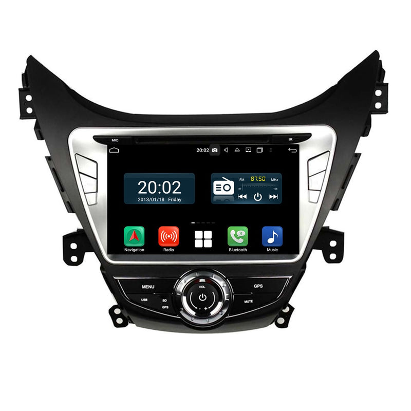 8'' Touchscreen Android 10 Autoradio Stereo Headunit for Hyundai Elantra/Avante/I35 2011 2012 2013. Octa Core 1.5G CPU 32G Flash 3G 4G DDR3 RAM. 2 Din Car Radio GPS Navigation 3G 4G WIFI Bluetooth USB/SD DVD DSP Carplay Auto Steering Wheel Control OBDII. Plug and Play Double Din Vehicle Multimedia Player System Head Unit.