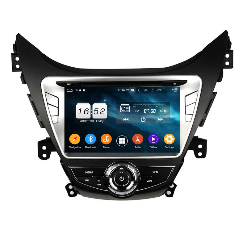 8 inch Touchscreen Android 9.0 OS Car GPS Navigation Headunit for Hyundai Elantra/Avante/I35(2011-2013), 8 Core 1.5G CPU 4G DDR3 RAM 32G Flash, Auto Radio DVD Player Bluetooth 4G WIFI OBDII MirrorLink - foyotech