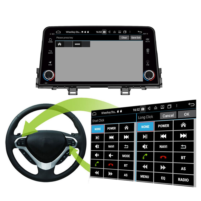Android 10 1 Din 8 Inch 1024x600 Touchscreen Autoradio Headunit for Kia Morning/Picanto 2016 2017 2018 2019 2020, Octa Core 1.5GB CPU 32GB Flash 4GB DDR3 RAM, Auto Radio GPS Navigation 3G 4G WIFI Bluetooth USB DSP Carplay&Auto Steering Wheel Control. 1Din Vehicle Touch Screen Multimedia Video Player System Head Unit.