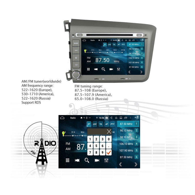 8 inch Touchscreen Android 9.0 OS Car Radio for Honda Civic(2012-2016) LHD, Octa Core 1.5G CPU 4G DDR3 RAM 32G Flash, Auto DVD Player GPS Navigation Bluetooth 4G WIFI OBDII MirrorLink Headunit - foyotech