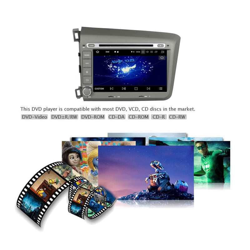 8 inch Touchscreen Android 10 Autoradio Stereo for Honda Civic 2012 2013 2014 2015 2016 Left Hand Driving. Octa Core 1.5G CPU 32G Flash 4G DDR3 RAM. 2 Din Car Radio DVD GPS Navigation 3G 4G WIFI Bluetooth USB/SD DVD Player DSP Carplay Auto Steering Wheel Control OBDII. Double Din Vehicle Multimedia System Head Unit.