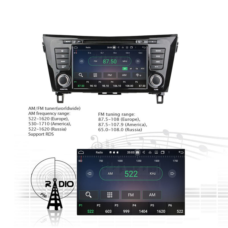 Touchscreen Android 10 Autoradio Stereo Headunit for Nissan QashQai/X-Trail 2014 2015 2016 2017 2018 2019 2020. Octa Core 1.5G CPU 32G Flash 4G DDR3 RAM. 2 Din Radio DVD Player GPS Navi 4G WIFI Bluetooth USB/SD DVD Player DSP Carplay Steering Wheel Control OBDII. Plug and Play Double Din Vehicle Multimedia System Head Unit.