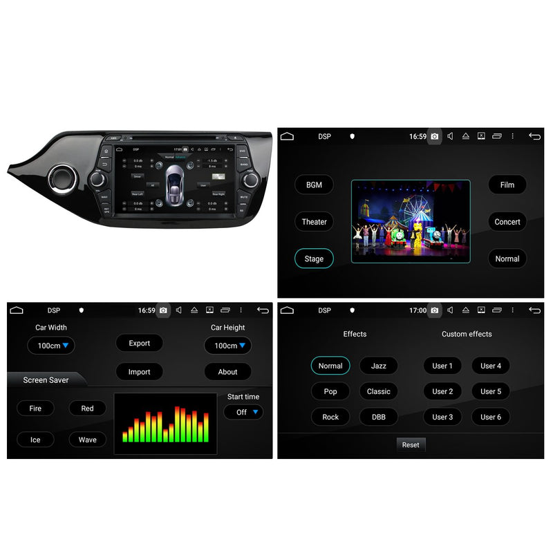 1024x600 Touchscreen Android 10 Autoradio Stereo for Kia Cee'd 2014 2015 2016 2017 2018. Octa Core 1.5G CPU 32G Flash 3G 4G DDR3 RAM. 2 Din Auto Radio GPS Navigation 4G WIFI Bluetooth USB/SD DVD Player DSP Carplay Auto Steering Wheel Control OBDII. Plug and Play Double Din Vehicle Multimedia Player System Head Unit.
