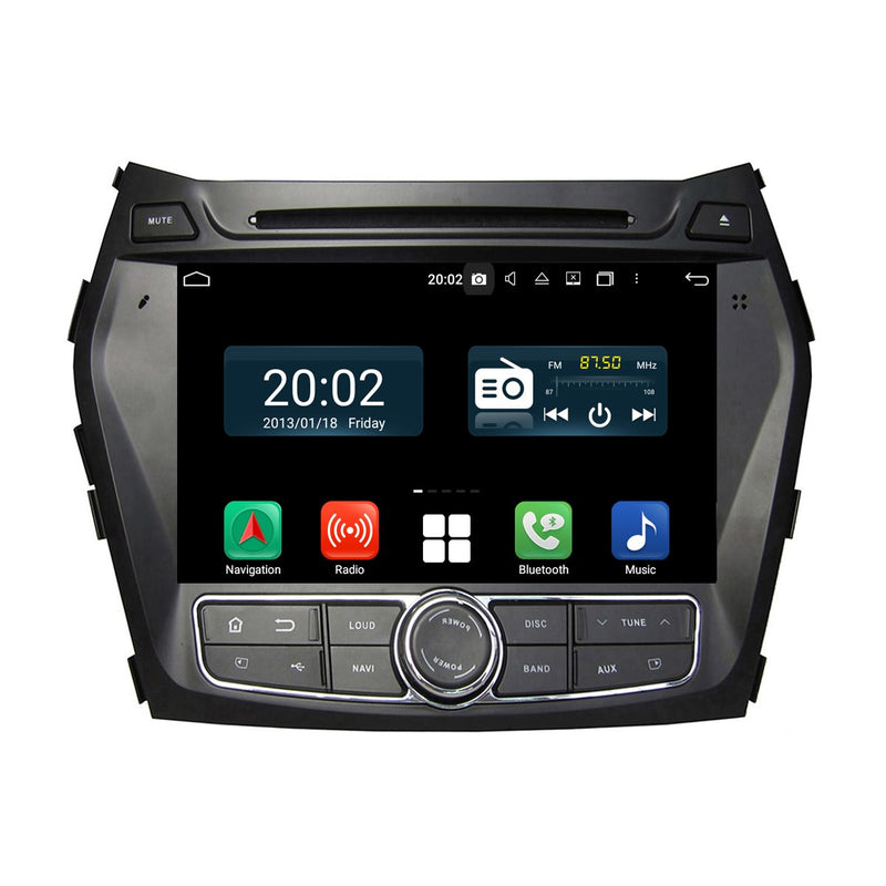 Touchscreen Android 10 Autoradio Stereo for Hyundai Santa Fe/IX45 2013 2014 2015 2016 2017 2018. Octa Core 1.5G CPU 32G Flash 3G 4G DDR3 RAM. 2 Din Car Radio GPS Navigation 3G 4G WIFI Bluetooth USB/SD DVD DSP Carplay Auto Steering Wheel Control OBDII. Plug and Play Double Din Vehicle Multimedia Player System Head Unit.