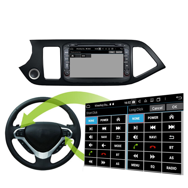 8 inch 1024x600 Touchscreen Android 10 Autoradio Stereo for Kia Morning/Picanto 2014 2015 2016. Octa Core 1.5G CPU 32G Flash 3G 4G DDR3 RAM. 2 Din Auto Radio DVD Player GPS Navigation 4G WIFI Bluetooth USB/SD DSP Carplay Auto Steering Wheel Control OBDII. Plug and Play Double Din Vehicle Multimedia Player System Head Unit
