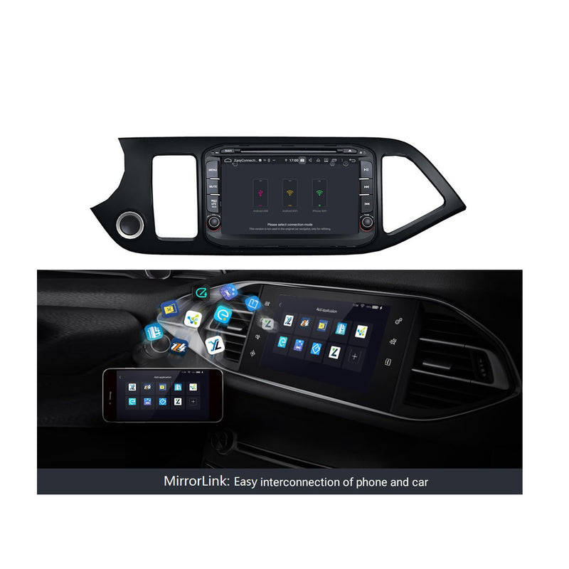 8 inch Touchscreen Android 9.0 OS Car DVD Player for Kia Morning/Picanto(2014-2016), Octa Core 1.5G CPU 4G DDR3 RAM 32G Flash, Auto Radio GPS Navigation Bluetooth 4G WIFI OBDII MirrorLink Headunit - foyotech