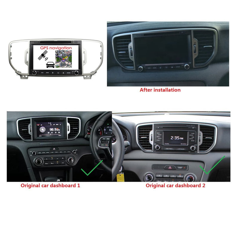 Android 9.0 OS 8 inch Touchscreen Car Radio DVD Player for Kia Sportage(2016-2019), Octa Core 1.5G CPU 4G DDR3 RAM 32G Flash, Auto GPS Navigation Bluetooth 4G WIFI OBDII MirrorLink Headunit - foyotech