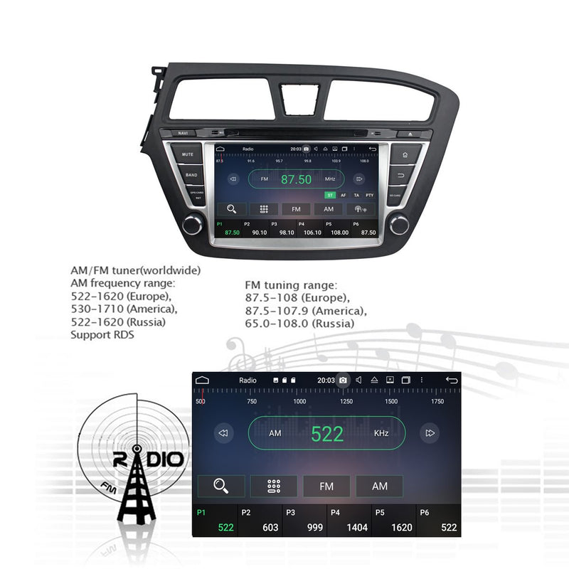 8 inch Android 10 Autoradio Stereo for Hyundai I20 2014 2015 2016 2017 2018 Left Hand Driving. Octa Core 1.5G CPU 32G Flash 3G 4G DDR3 RAM. 2 Din Car Radio GPS Navigation 3G 4G WIFI Bluetooth USB/SD DVD DSP Carplay Auto Steering Wheel Control OBDII. Plug and Play Double Din Vehicle Multimedia Player System Head Unit.