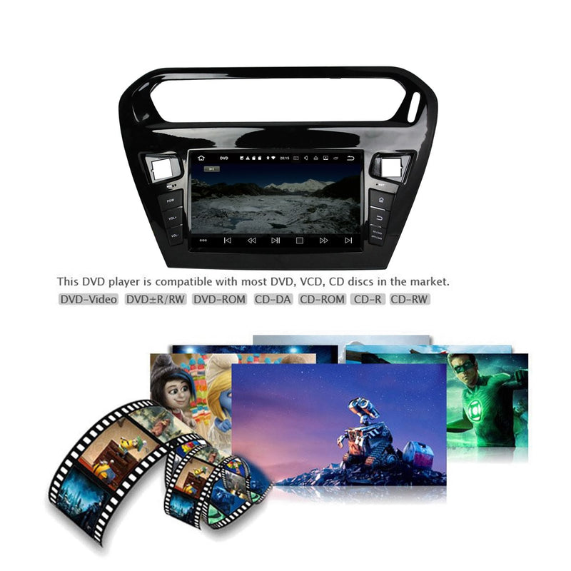 8 inch Android 9.0 OS Car Stereo DVD Player for Citroen Elysee(2013-2020), Octa Core 1.5G CPU 4G DDR3 RAM 32G Flash, Auto Radio GPS Navigation Bluetooth 4G WIFI OBD2 MirrorLink - foyotech
