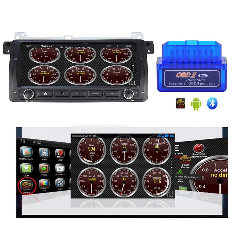 Android 10.0 Single Din 8.8 Inch Touchscreen Autoradio Headunit for BMW E46 M3(1998-2004), Octa Core 1.5GB CPU 32GB Flash 4GB DDR3 RAM, Auto Radio GPS Navigation 3G 4G WIFI Bluetooth USB DSP Carplay&Auto Steering Wheel Control. 1Din Vehicle Touch Screen Multimedia Video Player System Head Unit.