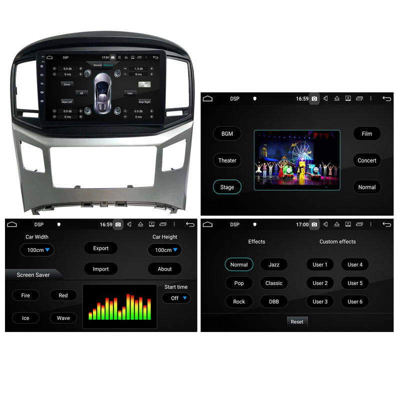 Android 10 Double Din 9 Inch 1024x600 Touchscreen Autoradio Headunit for Hyundai Hyundai H1 2016 2017 2018 2019 2020, Octa Core 1.5GB CPU 32GB Flash 4GB DDR3 RAM, Auto Radio GPS Navigation 3G 4G WIFI Bluetooth USB DSP Carplay&Auto Steering Wheel Control. 2Din Vehicle Touch Screen Multimedia Video Player System Head Unit.