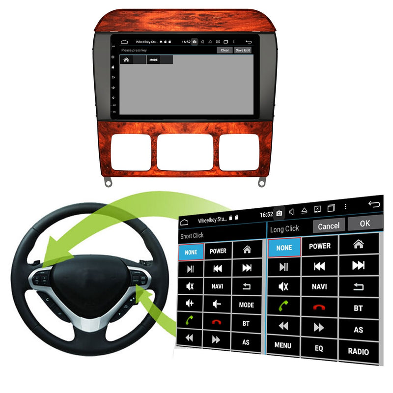 Android 10 8 Inch 1024x600 Touchscreen Autoradio Headunit for Benz S Class W220/S280/S320/S350/S400/S430/S500(1999-2006), 8 Core 1.5GB CPU 32GB Flash 4GB DDR3 RAM, Auto Radio GPS Navigation 3G 4G WIFI Bluetooth USB DSP Carplay&Auto Steering Wheel Control. Double Din Vehicle Touch Screen Multimedia Player System Head Unit.