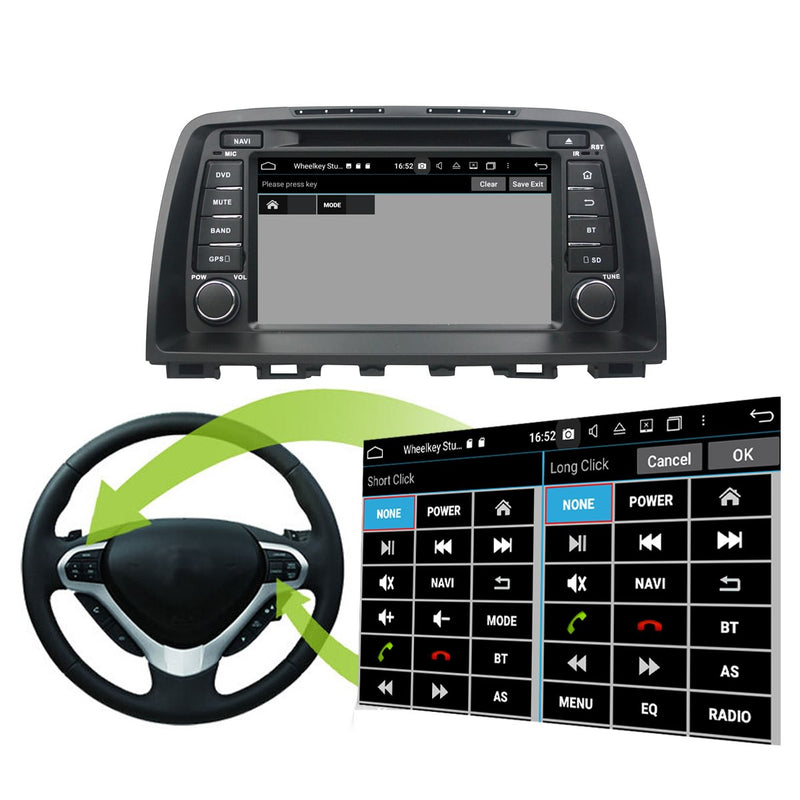 1024x600 Touchscreen Android 10 OS Autoradio Stereo Navigation Headunit for Mazda CX-5 2011 2012 2013 2014 2015 2016. Octa Core 1.5G CPU 32G Flash 4G DDR3 RAM. 2 Din Radio GPS 3G 4G WIFI Bluetooth USB/SD DVD Player DSP Carplay Auto Steering Wheel Control OBDII. Double Din Vehicle Multimedia Player System Head Unit.