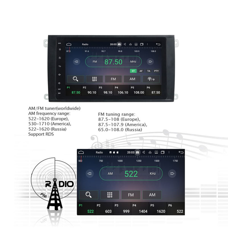 Android 10 8 Inch 1024x600 Touchscreen Autoradio Headunit for Porsche Cayenne 2003 2004 2005 2006 2007 2008 2009 2010, 8 Core 1.5GB CPU 32GB Flash 4GB DDR3 RAM, Auto Radio GPS Navigation 3G 4G WIFI Bluetooth USB DSP Carplay&Auto Steering Wheel Control. Double Din Vehicle Touch Screen Multimedia Player System Head Unit.