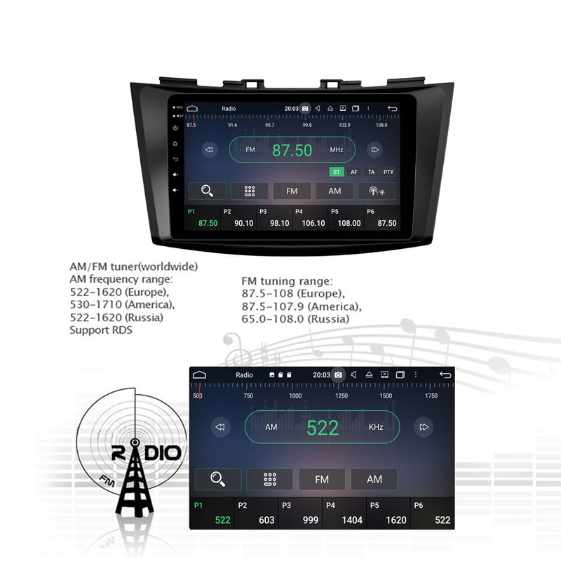 1024x600 Touchscreen Android 10 Autoradio Stereo for Suzuki Swift 2011 2012 2013 2014 2015 2016 2017. Octa Core 1.5G CPU 32G Flash 4G DDR3 RAM. 2 Din Radio GPS Navigation 3G 4G WIFI Bluetooth USB DSP Carplay Auto Steering Wheel Control OBDII. Plug and Play Double Din Vehicle Multimedia System Head Unit.
