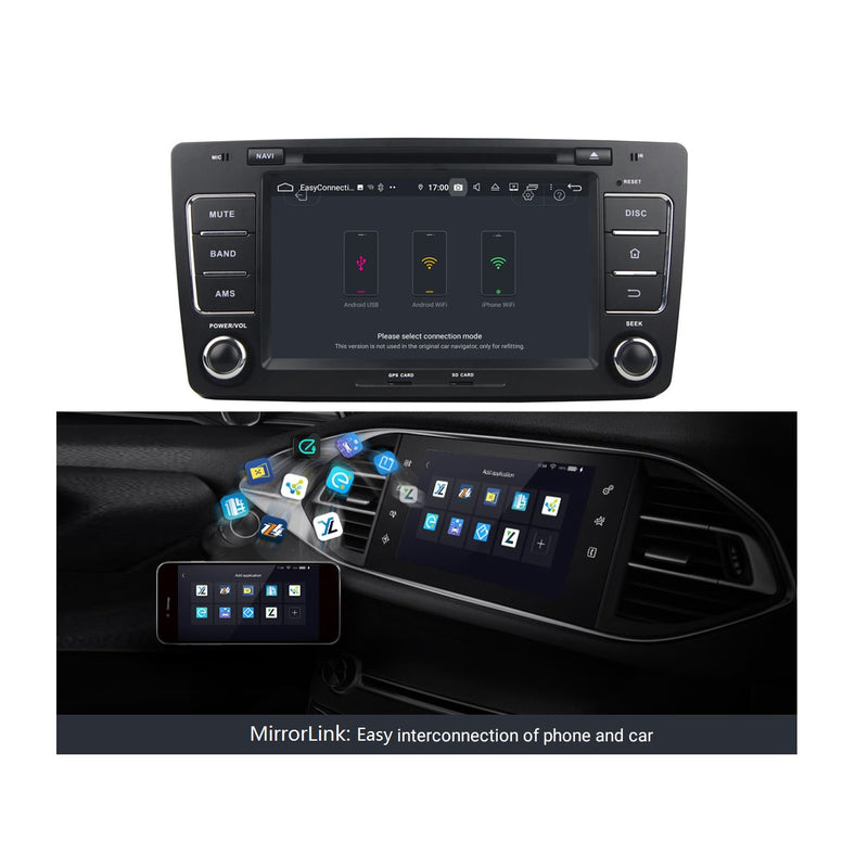 Car GPS Head Unit for Skoda Octavia(2009-2013), Octa Core 1.5G CPU 4G DDR3 RAM 32G Flash, 8 inch Touchscreen Android 9.0 OS Auto Radio Bluetooth 4G WIFI OBDII MirrorLink - foyotech