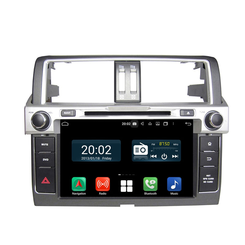 8 inch 1024x600 Touchscreen Android 10 Autoradio Stereo for Toyota Land Cruiser Prado 2014 2015 2016 2017, Octa Core 1.5G CPU 32G Flash 4G DDR3 RAM. 2 Din Car DVD Player GPS Navigation 3G 4G WIFI Bluetooth USB/SD DSP Carplay Auto Steering Wheel Control OBD2. Plug and Play cable Double Din Vehicle Multimedia System Head Unit