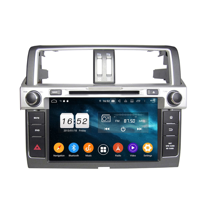 Android 9.0 OS 8 inch Touchscreen Car GPS Radio Headunit for Toyota Land Cruiser Prado(2014-2017), Octa Core 1.5G CPU 4G DDR3 RAM 32G Flash, Auto DVD Player Bluetooth 4G WIFI OBDII MirrorLink - foyotech