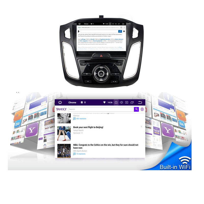9 inch Car DVD Player GPS Navigation Android 9.0 OS for Ford Focus(2015-2018), Octa Core 1.5G CPU 4G DDR3 RAM 32G Flash, Auto Radio Stereo Bluetooth 4G WIFI OBD2 MirrorLink - foyotech